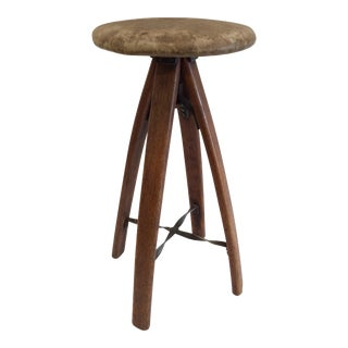1930s Industrial Wood & Iron Stool