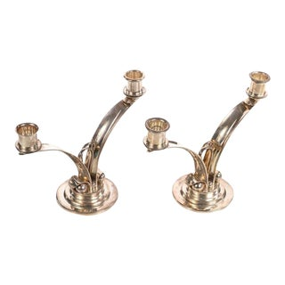 Sterling 925 Modernist Designer Candlesticks - a Pair