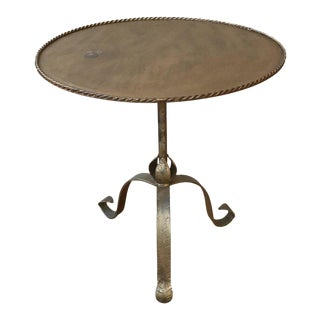 Spanish Gilt Iron End Table with Tripod Base