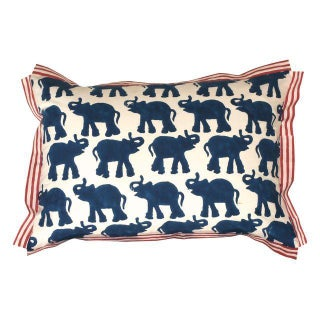 Indigo Elephant Block Printed Pillow