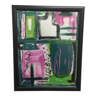 Original Abstract Signed & Framed Watercolor Painting