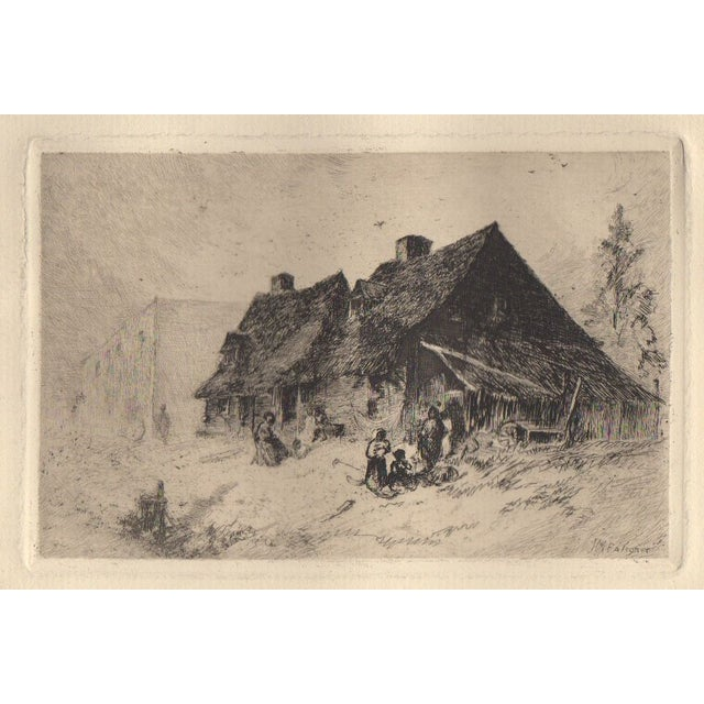 Image of 19th c. Etching by J.M. Falconer - Negro Huts
