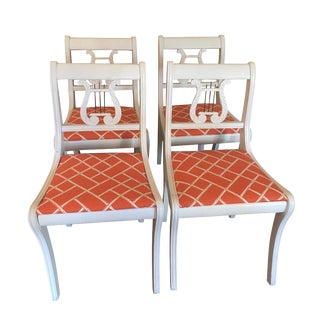 Jonathan Adler Antique White Lacquer Chairs - S/4