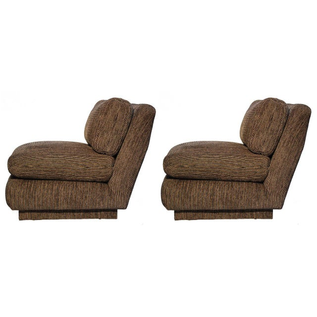 Marge Carson Modern Armless Lounge Chairs - A Pair - Image 1 of 7