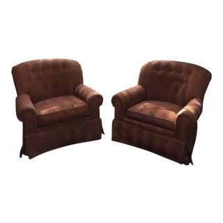 Swivel Tufted Velvet Striae Club Chairs - a Pair