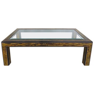 Mastercraft Acid-Etched Brass & Lacquered Coffee Table by Benrhard Rohne