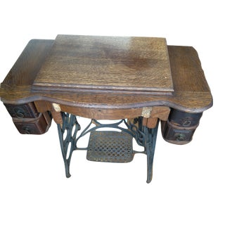 Antique Treadle Sewing Machine Desk