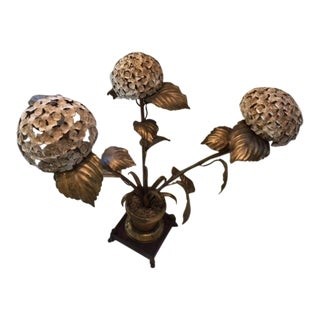 Vintage Italian Tole Hydrangea Lamp