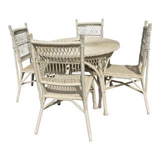 Regency Wicker Table & Chairs - Set of 5