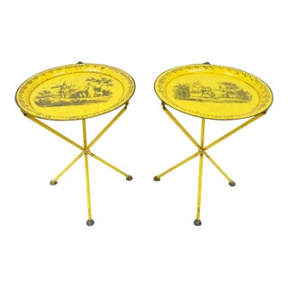 Pair of Vintage Italian Neoclassical Tole Metal Folding Side Tables Yellow Courting