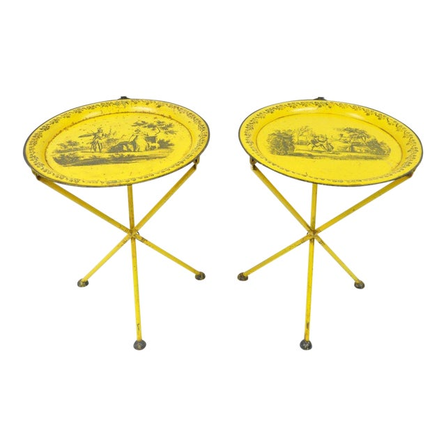 Pair of Vintage Italian Neoclassical Tole Metal Folding Side Tables Yellow Courting - Image 1 of 11