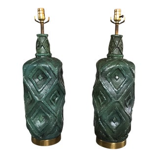 Mid-Century Emerald Pottery Lamps - A Pair