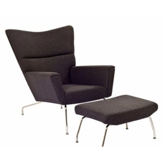 Hans Wegner Style Wing Chair With Ottoman