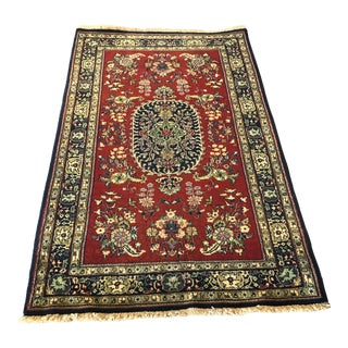 "Vintage Persian Qom Rug 3'1"" X 5'2"""