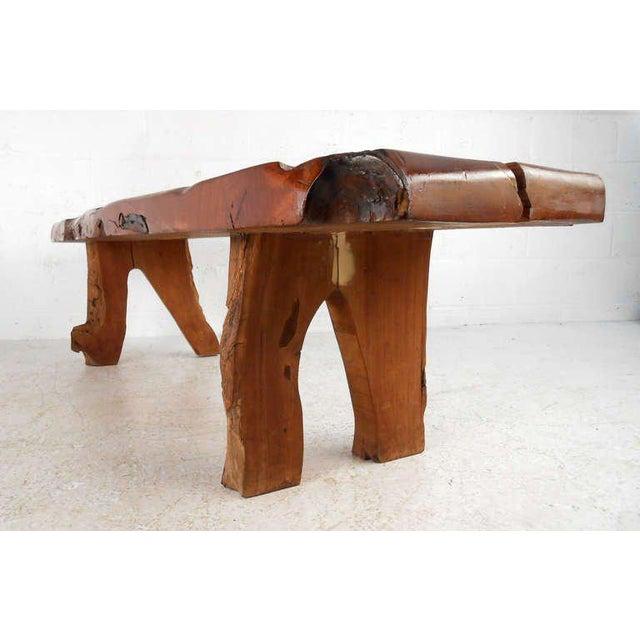 Rustic Slab Wood Coffee Table Bench: Rustic Wood Slab Coffee Table