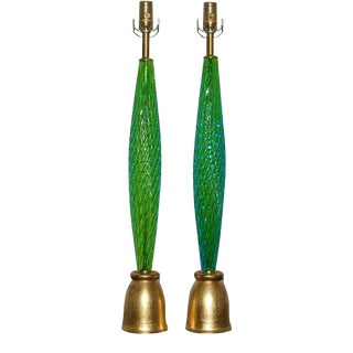 Slender Vintage Murano Lamps in Green