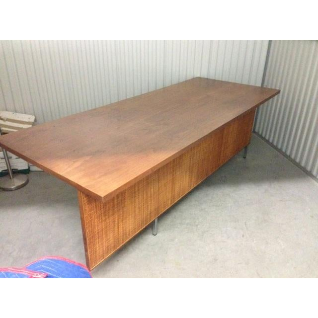 Mid-Century Executive Knoll Desk With Cane Detail - Image 6 of 7