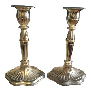 1930s Zinc Silver Plated Candle Holders - A Pair