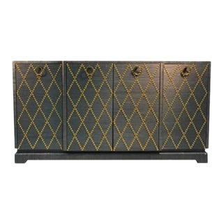 Grasscloth Gold Studded Cabinet in the Manner of Tommi Parzinger