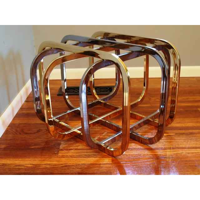 Vintage Chrome & Brass Glass Top Coffee Table - Image 4 of 8