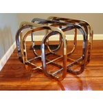 Image of Vintage Chrome & Brass Glass Top Coffee Table