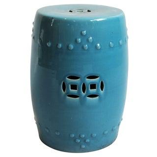 Painted Blue Ceramic Garden Stool