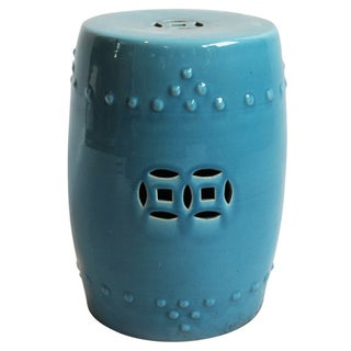 Painted Blue Ceramic Garden Stool
