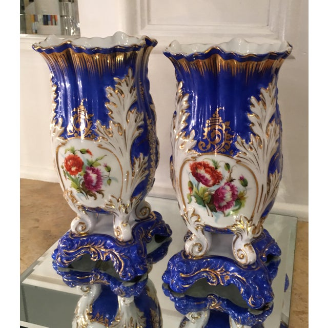 Antique Old Paris Porcelain Rococo Vases - A Pair - Image 2 of 5