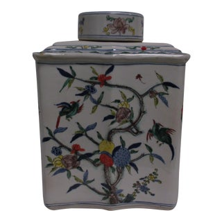 Itsuki Global Bazaar Colorful Floral Bird Square Porcelain Jar