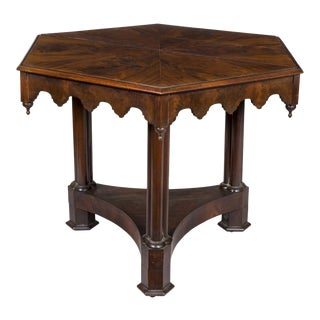 Gothic Mahogany Center Table with Cluster Columns