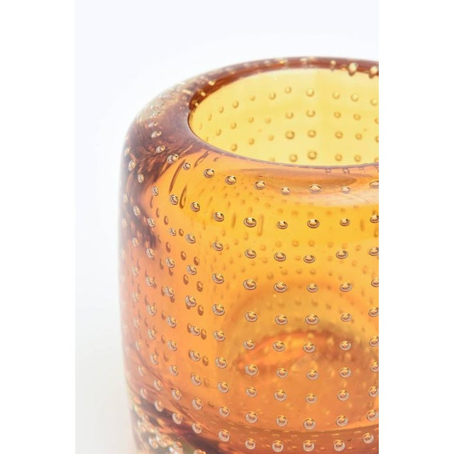 Heavy Bullecante Italian Murano Seguso Glass Vase or Candleholder - Image 6 of 8