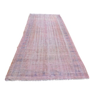 "Pink Overdyed Runner Wool Rug - 4'7"" x 12'1"""