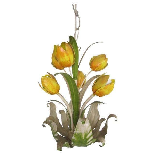 Italian Tole Tulip Chandelier - Image 1 of 6