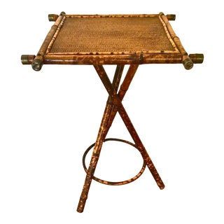 Late 19th Century English Bamboo & Cane Side Table