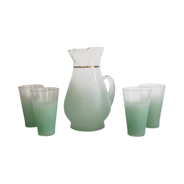 Green Glass Entertaining Pitcher & Glasses - Set of 5 - Image 1 of 6