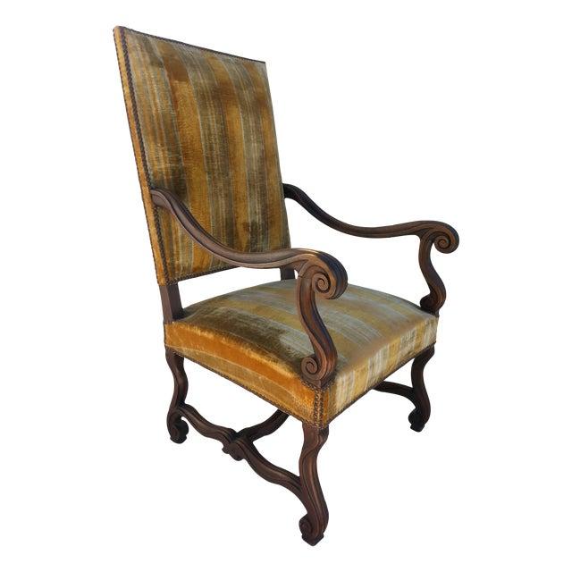 Antique Golden Velvet French Chair - Image 1 of 4