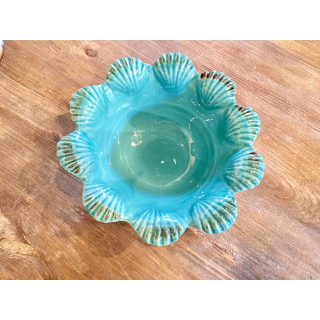 Italian Majolica Turquoise Shell Motif Bowl - Image 4 of 5