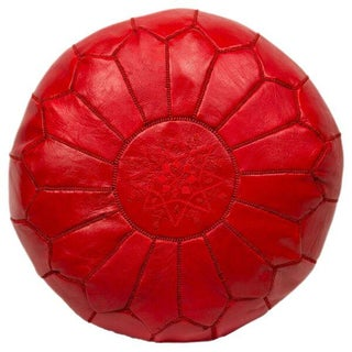 Red Embroidered Leather Pouf (Stuffed)