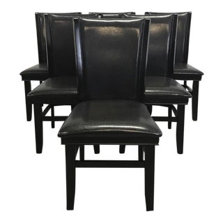 Black Leather Dining Chairs - Set of 6