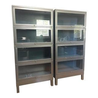 Vintage Mid-Century Barrister Metal Cabinets - Set of 2