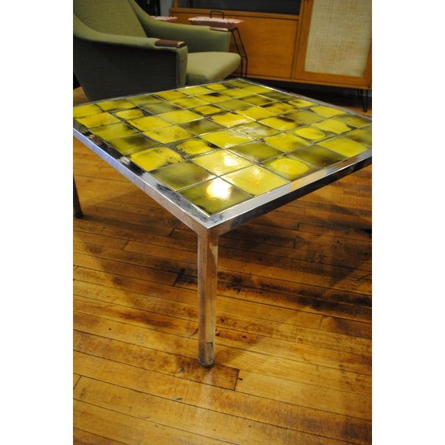 Tile and Chrome Danish Modern Coffee Table - Image 4 of 8