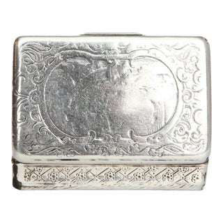 19th C. Antique Gold Washed Sterling Silver Box