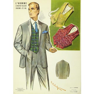 Vintage French Men's Fashion Print, 1962