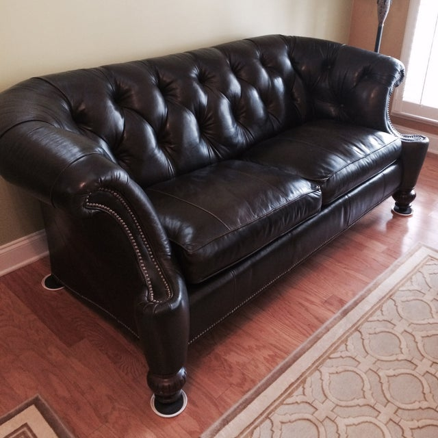 Southern Living Leather Sofa, Olive Brown - Image 2 of 4