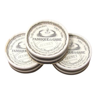 French Antique Black and White Boxes & Wicks - Set of 3