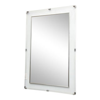 Large American Modern Lucite and Polished Chrome Mirror by Charles Hollis Jones