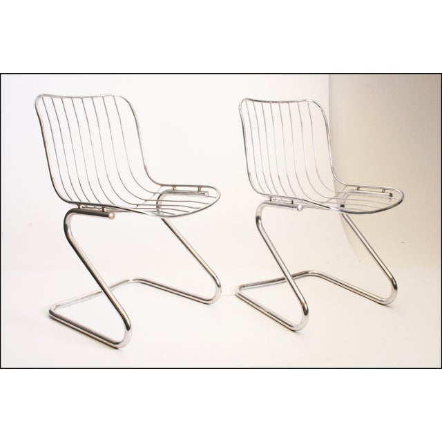 Vintage Italian Chrome Metal Dining Chairs - Set of 4 - Image 7 of 11