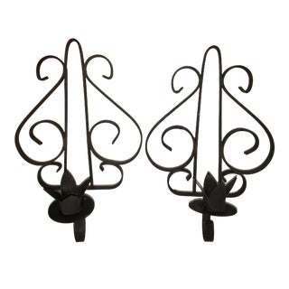 Vintage Medieval Wall Candle Sconces - A Pair