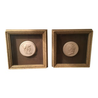 Framed Silk Shadowbox Intaglios - a Pair