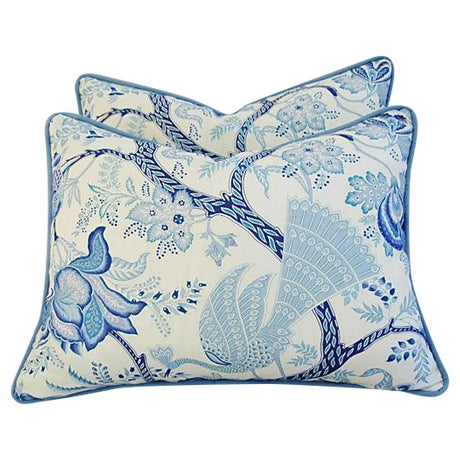 Designer Stroheim Jaidee Blue/White Pillows - Pair - Image 1 of 8